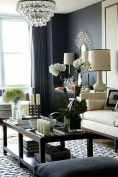 The Chic Technique:  Gray and cream living room ideas.
