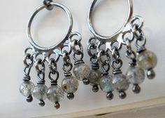 Sterling Silver Labradorite Earrings Rustic Oxidized by aroluna, etsy