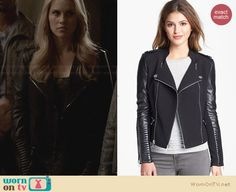 Bcbgmaxazria Asymmetrical Ponte & Leather Moto Jacket worn by Claire Holt on The Originals