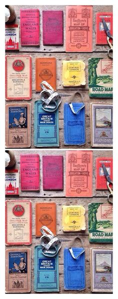 Colorful collection of vintage maps | Source: http://www.pinterest.com/SHOPBRIKA/