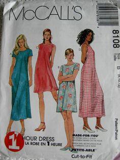 McCalls Misses Pullover Loose Fit Dress Pattern 8108 by Vntgfindz