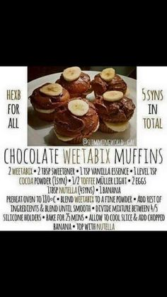 Slimming Wold recipe Chocolate Weetabix Muffins, perfect for if you're craving chocolate cake. Slimming World Deserts, Slimming World Recipes, Weetabix Muffins, Weetabix Recipes, Low Calorie Recipes, Cookie Desserts, Mini Cakes, Chocolate Recipes, Chocolate Cake
