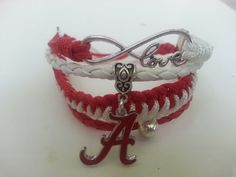 Alabama Crimson Tide football para cord ,leather love infinity bracelet ! by Bmariescreations on Etsy