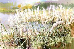"""Fine Art and You: Korean Watercolor Painter """"Shin Jong Sik"""" Gold Watercolor, Watercolor Landscape, Watercolour Painting, Watercolor Flowers, Landscape Paintings, Watercolours, Landscapes, Art Station, City Landscape"""