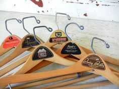 6 Vintage wooden clothes hangers