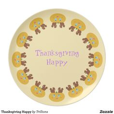 Thanksgiving Happy Dinner Plate