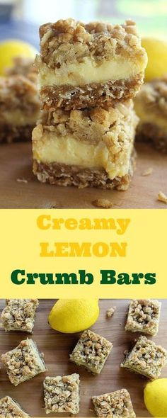 These light and refreshing Creamy Lemon Crumb Bars are the perfect dessert on a hot summer day! Mini Desserts, Lemon Desserts, Lemon Recipes, Just Desserts, Baking Recipes, Sweet Recipes, Cookie Recipes, Delicious Desserts, Paleo Dessert