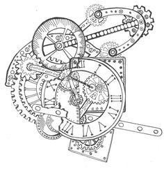 Zentangle Steampunk Clock drawn by Sherry Long November  2014