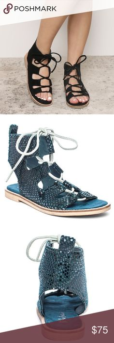 Matisse Blue Shells Gladiator Sandal Put your best foot forward while wearing the Shells gladiator-inspired sandal from Matisse. The stylish lace entry will provide a comfortable and personalized fit for all-day wear. Cushioned footbed Heel pull loop Lace entry Leather lining Rubber outsole Suede upper. Color: Blue SHELLS. Size 7 Matisse Shoes Sandals