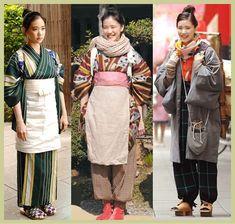 Osen Hitomi often wears an apron like this over her kimonos while working at… Traditional Japanese Kimono, Traditional Dresses, Japanese Outfits, Japanese Fashion, Yu Aoi, Yukata Kimono, Kimono Dress, Japanese Lifestyle, Modern Kimono