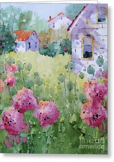Flower Lady's Poppies Greeting Card by Joyce Hicks