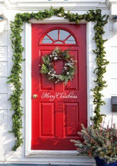 Welcome your family, friends, and neghbors this holiday season with this adorable Merry Christmas vinyl door decal. It is easily removed after the holidays and even renters can use it Christmas Front Doors, Christmas Vinyl, Christmas Door, All Things Christmas, Christmas Lights, Christmas Holidays, Christmas Wreaths, Merry Christmas, Christmas Decorations
