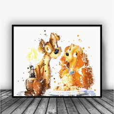 Lady and the Tramp Watercolor Art Print Poster. Disney Art For Home Decoration, Nursery and Kids Room Decor.