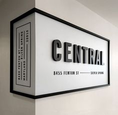 """Something like this, but not wrapped around the wall.black frame with modern lettering """"Kithkin Real Estate"""" Something like this, but not wrapped around the wall.black frame with modern lettering Kithkin Real Estate Wayfinding Signage, Signage Design, Retail Signage, Restaurant Signage, Office Signage, Banner Design, Shop Signage, Restaurant Ideas, Entrance Signage"""
