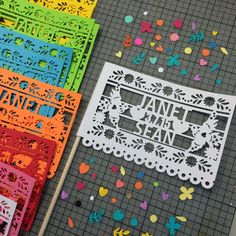 Fiesta Wedding Decorations Mexican Papel Picado by LulaFlora Flora Design, African American Weddings, Rehearsal Dinners, Big Day, Flags, Paper Art, Party Favors, Destination Wedding, Dream Wedding