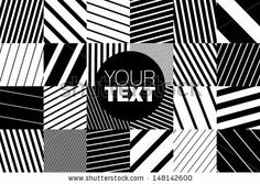 abstract geometric pattern background with black and white striped squares - stock vector
