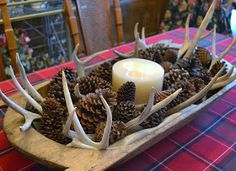 red flannel plaid tablecloth, dough bowl centerpiece with pine cones, antlers and candle. Country Decor, Rustic Decor, Rustic Wood, Rustic Table, Deer Decor, Decorating With Deer Antlers, Deer Horns Decor, Antler Art, Deer Antler Crafts