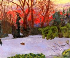 The Garden in the Snow, Sunset / Pierre Bonnard - circa 1910