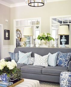 AN INCREDIBLY GORGEOUS ROOM, WITH A TOUCH OF 'SOPHISTICATION' WHICH LOOKS AMAZING IN BLUE & WHITE! - THE BLUE SOFA, WITH MIX-MATCH CUSHIONS IS DIVINE, AS IS THE FABULOUS DECOR! #️⃣