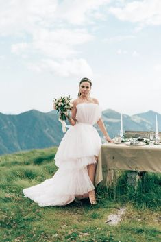 "Enchanting Italian Alps Wedding Inspiration – Svetlana Cozlitina 46 The Italian Alps is the perfect wedding destination where you could shout, ""I LOVE YOU"" from the top of the mountain in a dreamy tulle dress with the man you want to spend forever with. #bridalmusings #bmloves #coolbride #tulle #tulledress #tierdress #weddingdestination #italianalps #adventurousbride #weddinginspiration #bride #weddingwear"