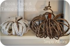 Book Page & Twine Pumpkins – For a classy, more rustic decor we found these cute little pumpkin designs. Easy to follow instructions make this project and fun addition to autumn decor.