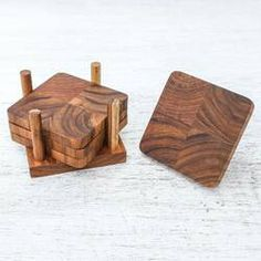 Union Rustic Cool Nature Wood Coaster Set with Holder | Wayfair Monogram Coasters, Wooden Coasters, Stone Coasters, Coaster Holder, Coaster Set, Diy Storage Rack, Wood Clocks, Custom Woodworking, Teak Wood