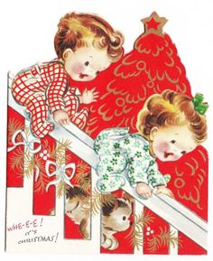 Vintage Babies Sliding Down Stair Banister Christmas Greeting Card