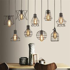 Vintage Industrial Metal Cage Wire Frame Loft Ceiling Pendant Light Lamp Shades Best Modern Kitchen Lighting Ideas and Tips Vintage Pendant Lighting, Industrial Pendant Lights, Rustic Lighting, Modern Lighting, Kitchen Lighting, Lighting Ideas, Loft Lighting, Industrial Lamp Shade, Edison Lighting