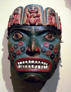 Octopus mask, Tlingit (I like the idea of the five frontlets on a mask.) Also, the cheek crease like is interesting.