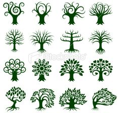 Green Tree Collection icon set Royalty Free Stock Vector Art Illustration
