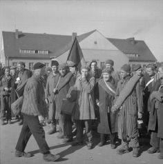 THE LIBERATION OF BERGEN-BELSEN CONCENTRATION CAMP, APRIL 1945. French, Belgian and Dutch camp inmates prepare to leave Camp No 2 at Hohne Military Barracks after having been passed fit to return to their own countries.