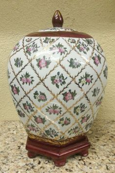 Estate Vintage Asian Ginger Jar Storage Jar Ceramic Porcelain Gold Gilded Roses HIGHLY DETAILED with Paneled Sides Very Unique Jar with Wood Stand $119.00 with FREE PRIORITY SHIPPING SAME DAY IF PURCHASE IS MADE BY NOON CST @ www.iBidBuyShip.com!
