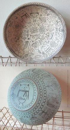Flora Chang - Happy Doodle Land wooden bowls with line art hand drawn illustration Ceramic Decor, Ceramic Clay, Ceramic Plates, Ceramic Pottery, Decorative Plates, Pottery Painting, Ceramic Painting, Painting Art, Pattern Wall