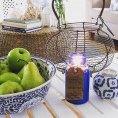 French Pear cobalt blue bottle candle