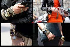 oversize bracelets and watch