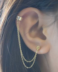 Double Chain Cuff Earring By Olive Yew Gold With Cupped Circle