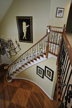Cool Interior Design With Staircase Ideas And Balaster Plus Handrails And Foyer Chandelier With Interior Paint Colors Also Parquet Flooring Staircase Design, Staircase Ideas, Stair Idea, Foyer Ideas, Wood Balusters, Iron Railings, Traditional Staircase, Foyer Chandelier, Foyer Decorating