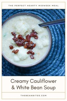 This creamy and healthy cauliflower and white bean soup is hearty enough for a midweek meal. Super tasty topped with crumbled bacon or pancetta, skip the meat for an easy vegetarian soup. | Soup Recipe | White Bean Recipe | Cauliflower Recipe | Cooking with White Beans | Vegetarian Recipe | White Bean Recipes, Bean Soup Recipes, Chickpea Recipes, Vegetarian Soup, Vegetarian Recipes, Cooking Recipes, Creamy Cauliflower Soup, Cauliflower Recipes, Cooking With White Beans