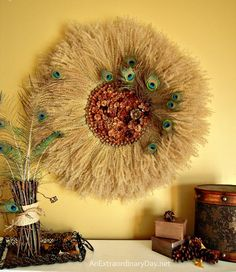 Fall Pampas Grass Wreath with Pine Cones and Peacock Feathers :: AnExtraordinaryDay.net