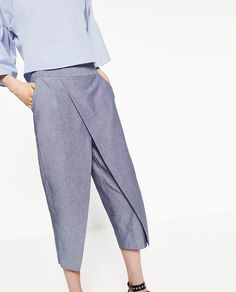 Image 2 of CHAMBRAY TROUSERS. from Zara