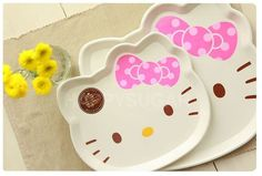 Hello Kitty Face Serving Tray Dinner Fruit Dish Candy Dessert Plate White Cute