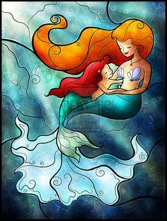Kess InHouse Mandie Manzano I Remember Love Mermaid Indoor/Outdoor Throw Pillow, Blue Deco Disney, Arte Disney, Disney Fan Art, Disney Love, Fantasy Mermaids, Mermaids And Mermen, Disney Stained Glass, Mermaid Wall Art, Ariel The Little Mermaid