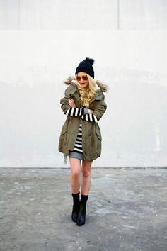 Stripes winter dress