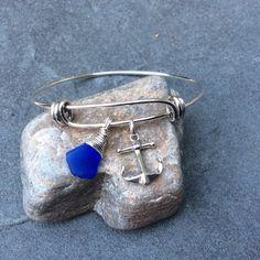Bijoux en verre de mer bleu de Cobalt mer de par FatCatsOnTheBeach