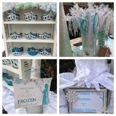 Frozen Winter Wonderland | CatchMyParty.com I love the guest being greeted with a crown, wand, and magic glove.
