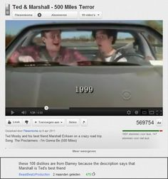 Do you know why this video of a road trip of Ted Mosby and Marshall Eriksen gets 147 dislikes? It has something to do with Barney Stinson... #HIMYM #HowIMetYourMother
