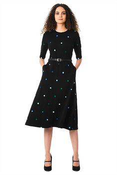 38a235b7d7 I  lt 3 this Polka dot embellished cotton knit belted dress from eShakti  Dot Dress