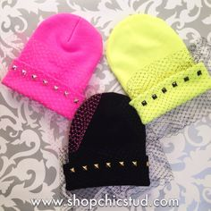 Studded VEIL Beanie Hat - Black Pink or Neon Yellow Beanie Hat - Gold Silver or Black Studs