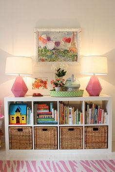 girl room/playroom -Whitney McGregor Designs -Ikea Expedit Shelving Unit, Delta Schiaparelli Pink High Table, pink and white zebra print rug Playroom Organization, Organization Ideas, Organized Playroom, Storage For Playroom, Cheap Playroom Ideas, Organizing Kids Toys, Girls Room Storage, Living Room Toy Storage, Kids Storage