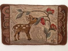 Oh Deer! Designed and Hooked by Maureen Lowrey.